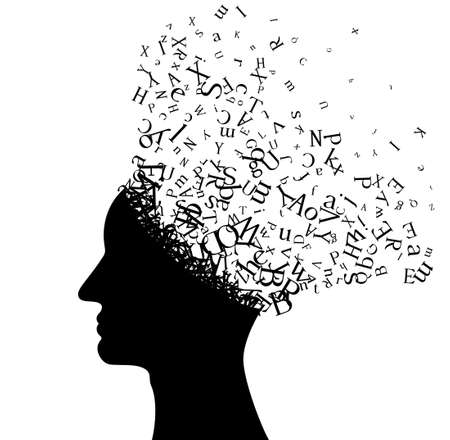 Illustration pour Man head with flying letters. Vector decoration from scattered elements. Monochrome isolated silhouette. Conceptual illustration .. - image libre de droit