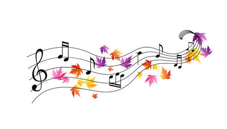 Illustration pour Music notes with flying colorful autumn leaves. Vector decoration from scattered elements. Colorful isolated silhouette. Conceptual illustration .. - image libre de droit