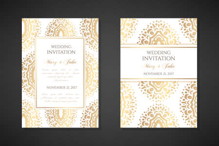 Illustration pour Wedding invitation templates. Cover design with ornaments and white background. Vector decorative vertical posters with copy space .. - image libre de droit