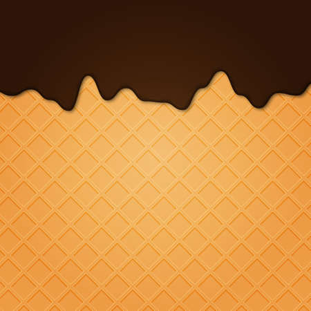 Illustration for Waffle with liquid glaze. Vector background with waffle texture and chocolate cream border .. - Royalty Free Image