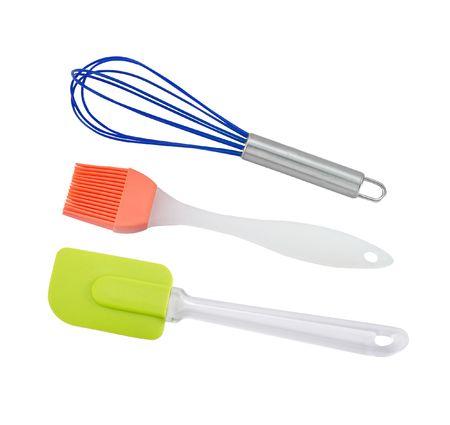 Plastic kitchenware in white background