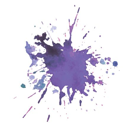 Illustration for expressive watercolor stain with splashes violet  color illustration - Royalty Free Image
