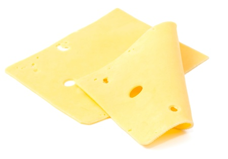 sliced cheese on a white background