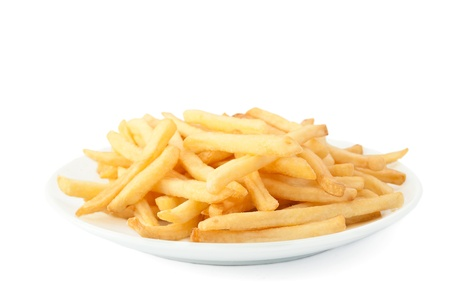 French fries on a white background.