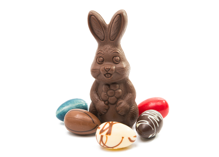 Photo pour chocolate bunny isolated on white background - image libre de droit