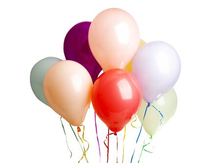Photo pour helium colored balloons isolated on white background - image libre de droit