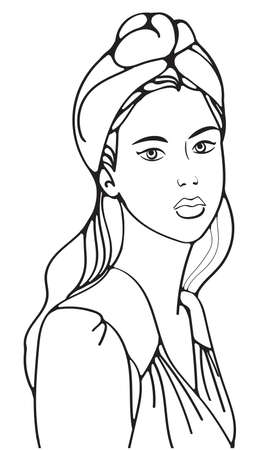 Illustration for illustration outline portrait girl with hat and blouse, fashion model - Royalty Free Image