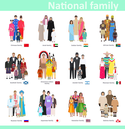 Families in national costume, different countries, vector illustration