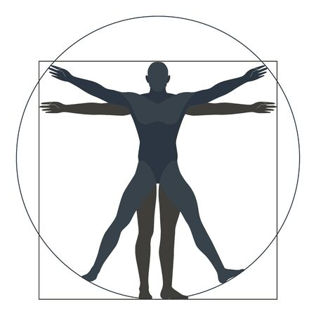 Illustration pour Vitruvian man, silhouette. the modern form, vector illustration - image libre de droit