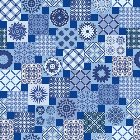 Seamless geometric abstract backgrounds in blue and white colors-vector illustration. Textile patchwork vintage print.