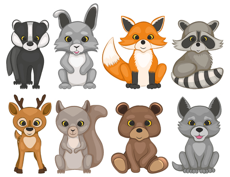 Cute forest animals isolated on a white background. Set of cartoon woodland animals. Set of prints for t-shirt design. Vector illustration.のイラスト素材
