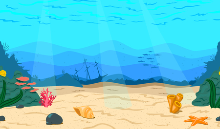 Illustration pour Cartoon sea, ocean. The seabed for the game. Horizontal seamless coral reef. Nautical background, vector illustration. - image libre de droit