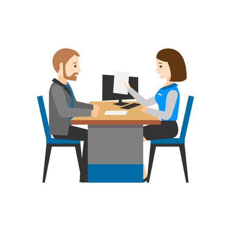 Ilustración de The Bank employee advises the client. A man and a woman behind a desk. Financial Advisor. - Imagen libre de derechos
