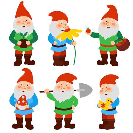 Illustration pour A set of cartoon garden gnomes - image libre de droit