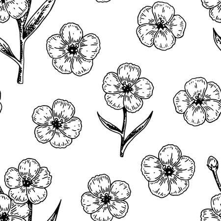 Illustration pour Spring flowers seamless pattern with hand drawn design elements. Vector illustration in sketch stile. - image libre de droit