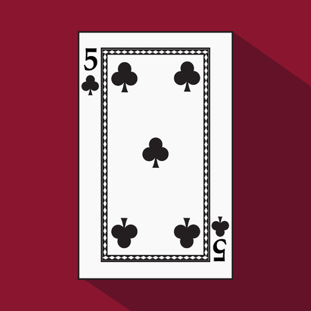 playing card. the icon picture is easy. peak spide FIVE 5 with white a basis substrate. a vector illustration on a red background. application appointment for: website, press, t-shirt, fabric, interior, registration, design