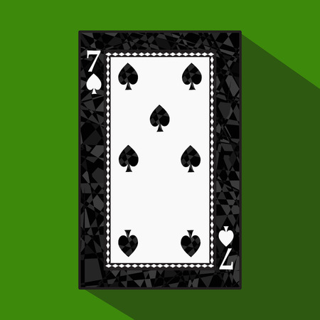 playing card. the icon picture is easy. peak spide 7 about dark region boundary. a vector illustration on a green background. application appointment for: website, press, t-shirt, fabric, interior, registration, design.
