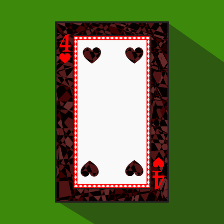 playing card. the icon picture is easy. HEART FOUR 4 about dark region boundary. a vector illustration on a green background. application appointment for: website, press, t-shirt, fabric, interior, registration, design