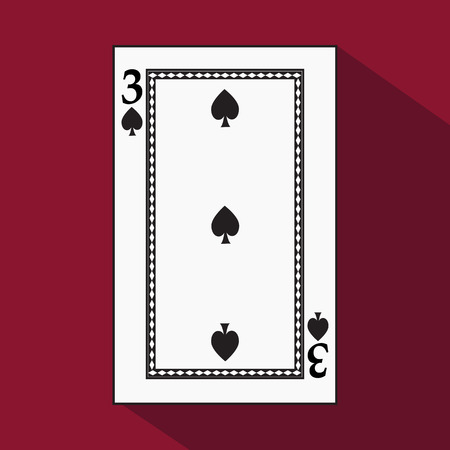 playing card. the icon picture is easy. peak spide THREE 3 with white a basis substrate. a vector illustration on a red background. application appointment for: website, press, t-shirt, fabric, interior, registration, design.