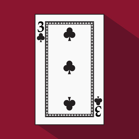 playing card. the icon picture is easy. peak spide 3 with white a basis substrate. a vector illustration on a red background. application appointment for: website, press, t-shirt, fabric, interior, registration, design