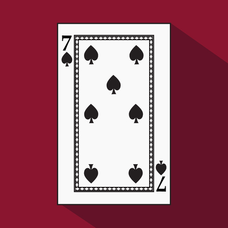 playing card. the icon picture is easy. peak spide 7 with white a basis substrate. a vector illustration on a red background. application appointment for: website, press, t-shirt, fabric, interior, registration