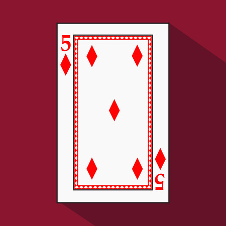 playing card. the icon picture is easy. DIAMONT 5 with white a basis substrate. a vector illustration on a red background. application appointment for: website, press, t-shirt, fabric, interior, registration, design.TO PLAY POKER.
