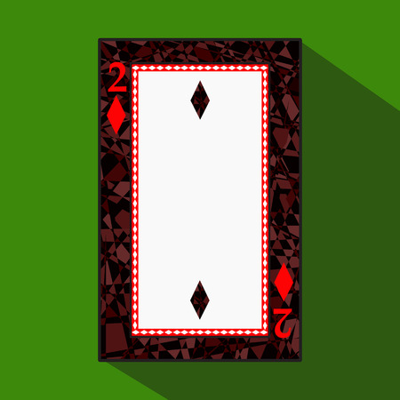 playing card. the icon picture is easy. DIAMONT TWO 2 about dark region boundary. a vector illustration on a green background. application appointment for: website, press, t-shirt, fabric, interior, registration, design.TO PLAY POKER.