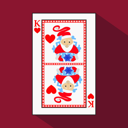 playing card. the icon picture is easy. HEART KING. NEW YEAR SANTA CLAUS. CHRISTMAS SUBJECT.with white a basis substrate. a vector illustration on a red background. application appointment for: website, press, t-shirt, fabric, interior, registration, desi