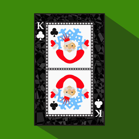 playing card. the icon picture is easy. CLUB KING. NEW YEAR SANTA CLAUS. CHRISTMAS SUBJECT. about dark region boundary. a vector illustration on a green background. application appointment for: website, press, t-shirt, fabric, interior, registration, desi