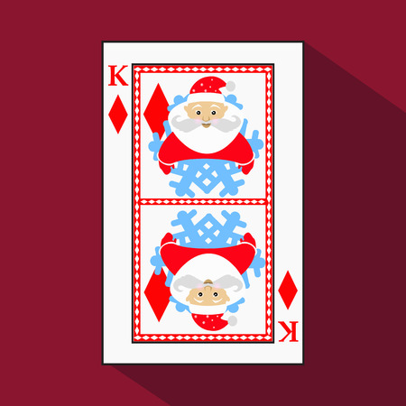 playing card. the icon picture is easy. DIAMONT KING. NEW YEAR SANTA CLAUS. CHRISTMAS SUBJECT. with white a basis substrate. a vector illustration on a red background. application appointment for: website, press, t-shirt, fabric, interior, registration, d