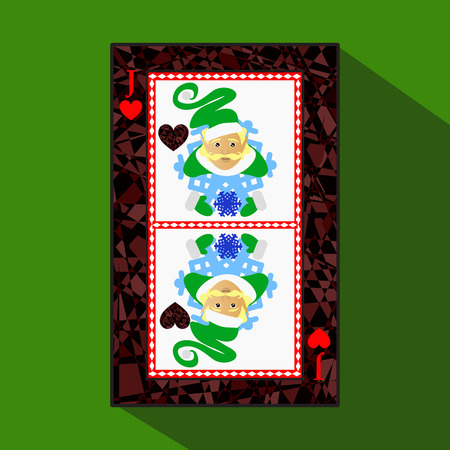 playing card. the icon picture is easy. HEART JACK JOKER NEW YEAR ELF. CHRISTMAS SUBJECT. about dark region boundary. a vector illustration on a green background. application appointment for: website, press, t-shirt, fabric, interior, registration, design