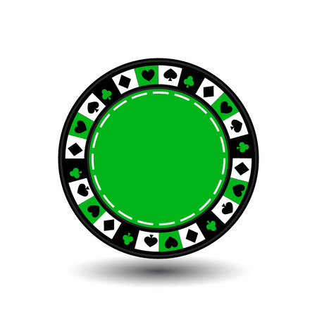 chips green for poker an icon on the white isolated background. illustration vector. To use for the websites, design, the press, prints.