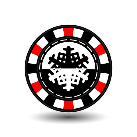 chip poker casino Christmas new year. Icon vector illustration EPS 10 on white easy to separate the background. To use for sites, design, decoration, printing, etc. In the middle of the black-and-white snowflake on red chip.