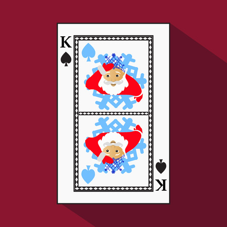 playing card. the icon picture is easy. peak spide KING. NEW YEAR SANTA CLAUS. CHRISTMAS SUBJECT. with white a basis substrate. a vector illustration on a red background. application appointment for: website, press, t-shirt, fabric, interior, registration