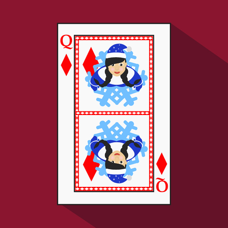 playing card. the icon picture is easy. DIAMONT QUEEN. NEW YEAR OF MISISS SANTA CLAUS GIRL. CHRISTMAS SUBJECT. with white a basis substrate. a vector illustration on a red background. application appointment for: website, press, t-shirt, fabric, interior,