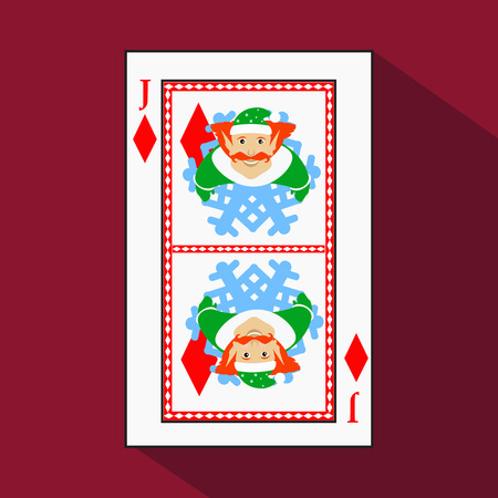 playing card. the icon picture is easy. DIAMONT JACK JOKER NEW YEAR ELF. CHRISTMAS SUBJECT. with white a basis substrate. a vector illustration on a red background. application appointment for: website, press, t-shirt, fabric, interior, registration, desi