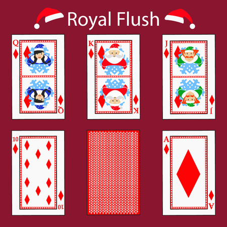royal flus playing card poker combination. vector illustration eps 10. On a red background. To use for design, registration, the websites, dressing, the press, etc.