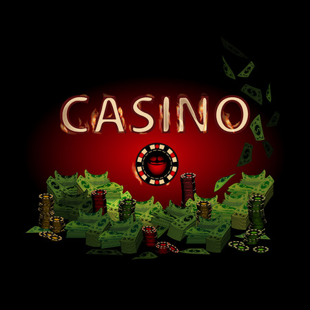 Casino Fire Letters On A Dark Background Chip Simple