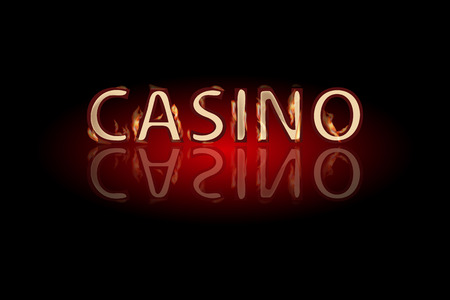 Casino fire text on a dark background. Simple fashion symbol for web site design or a button for mobile applications.