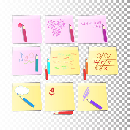 nine stickers Office paper sheet and yellow or pink sticky label with shadow isolated on a transparent background. Vector for your design.