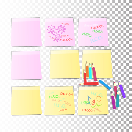 nine stickers Office paper sheet pink and yellow with colored pencils or a sticky label with shadow isolated on a transparent background. Vector for your design.