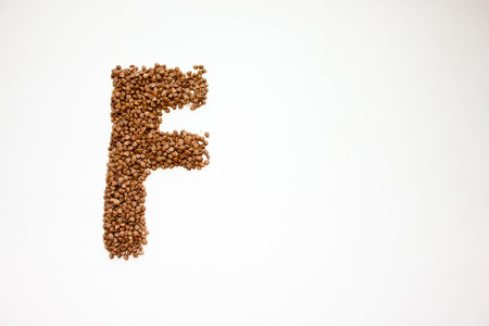 Letter f. English alphabet of cereals. Photo for your design