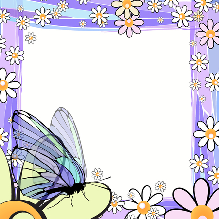 Photo frame summer. Vector illustration for your design. Elements of mosaic and butterflies on chamomiles. Square sheet orientation