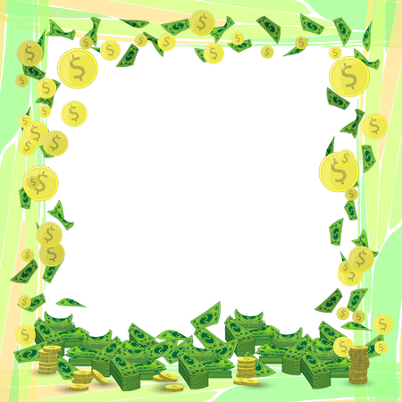 A Photo frame money square orientation sheet with coins. Illustration for your design.