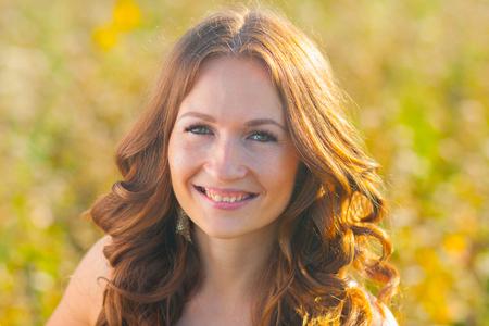 Photo pour GIRL beautiful brunette face PORTRAIT. vacation - image libre de droit