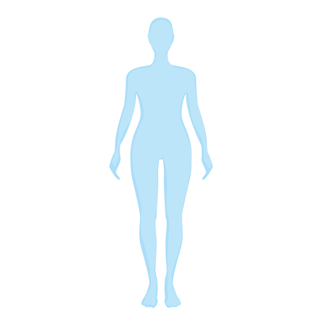 Illustration for blue female silhouette on a white background. - Royalty Free Image