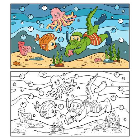 Coloring book (crocodile diver, ocean floor)