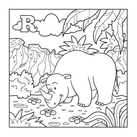 R Is For Rhino Illustration