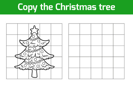 Copy the picture, education game: Christmas tree