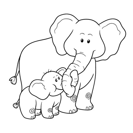 Coloring book for children, education game: elephants